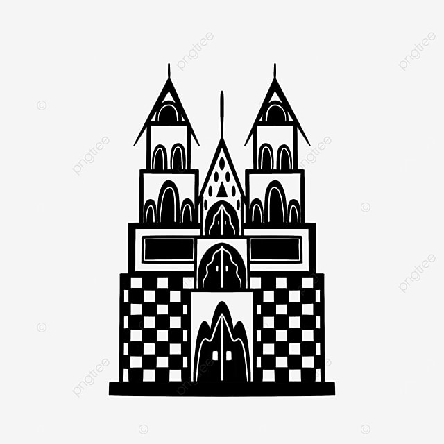 black and white attractions building castle clipart