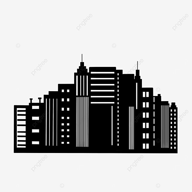 black and white building city clipart background
