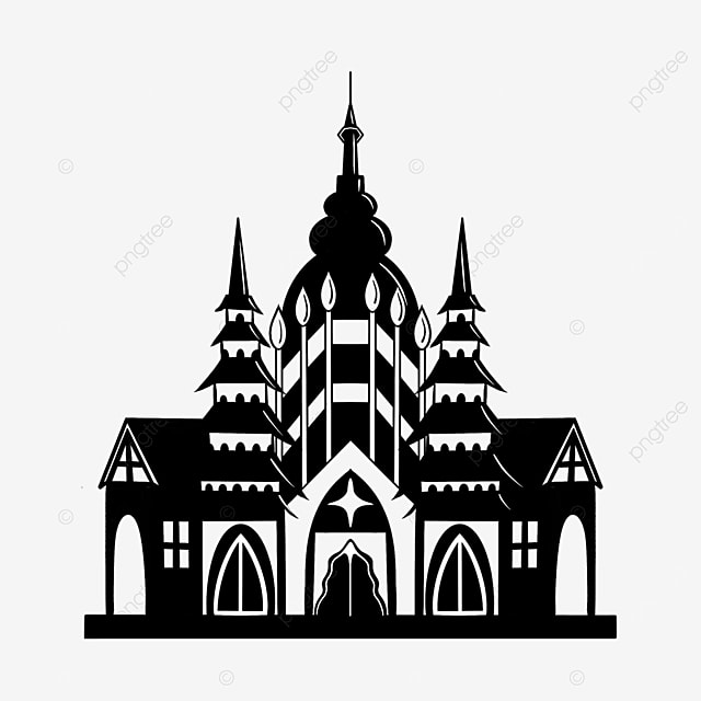 black and white buildings city clipart