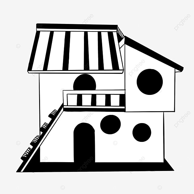 black and white cabin building clipart