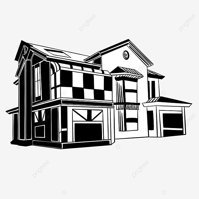 black and white chinese architecture clipart