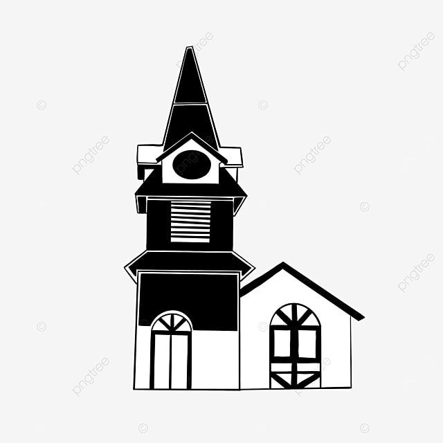 black and white clock tower building clipart