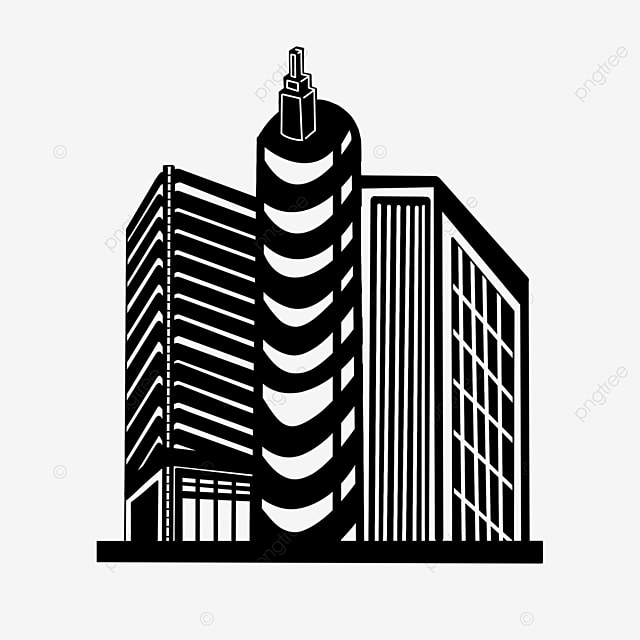 black and white commercial building city clipart