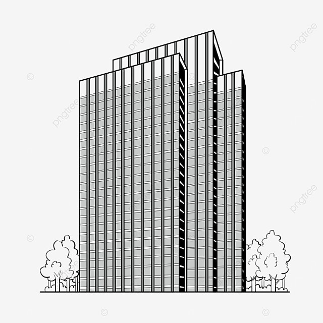 black and white modern building clipart