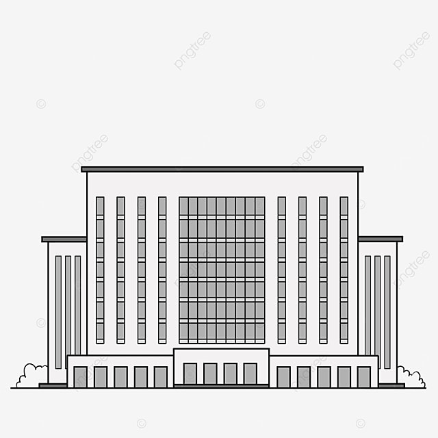 black and white office building architecture clipart
