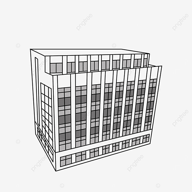 black and white office building clipart lineart