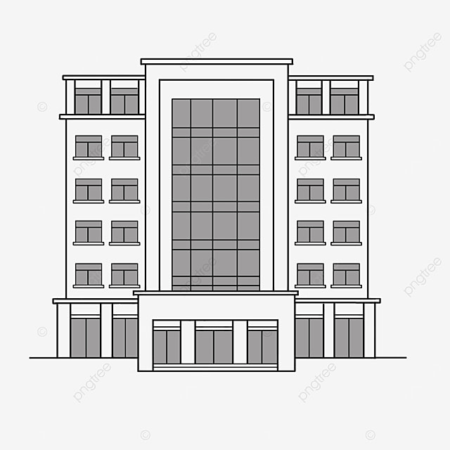 black and white office building clipart