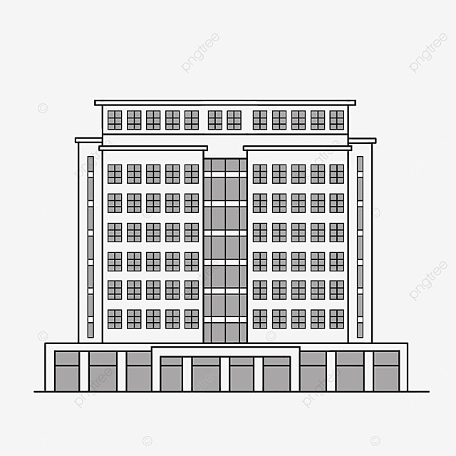 black and white office hotel building clipart