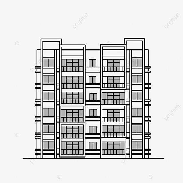 black and white residential area building clipart