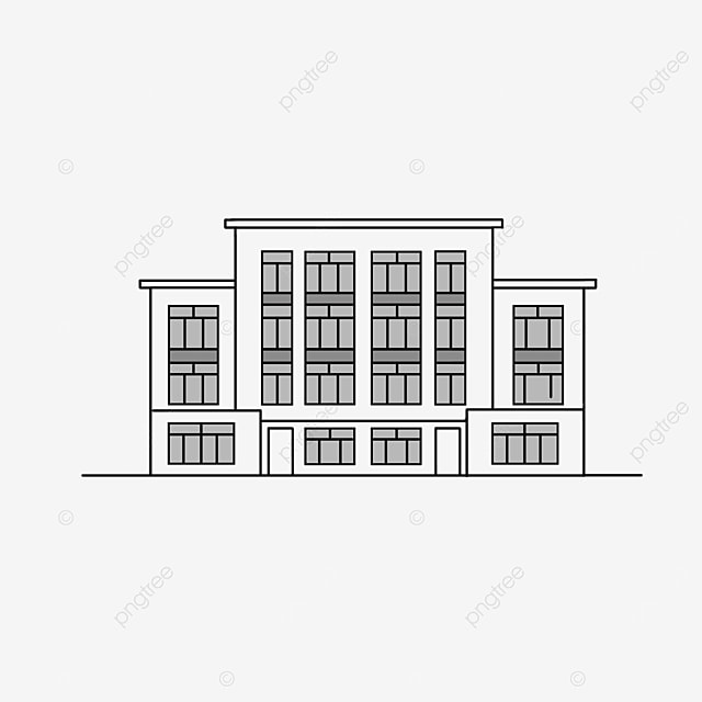 black and white residential building clipart facade