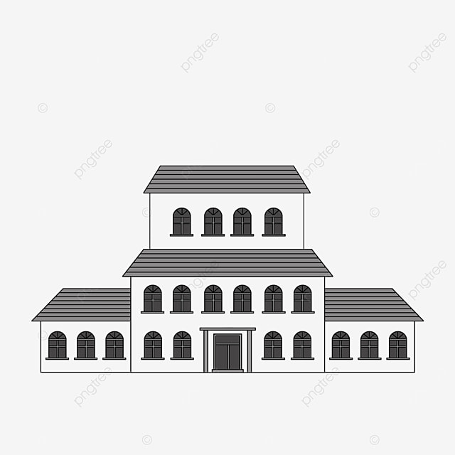 black and white residential building clipart