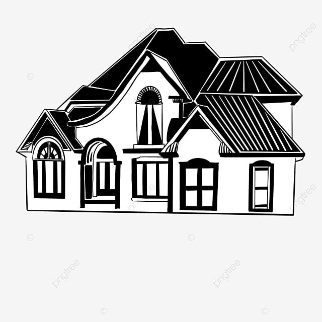 black and white residential house building clipart