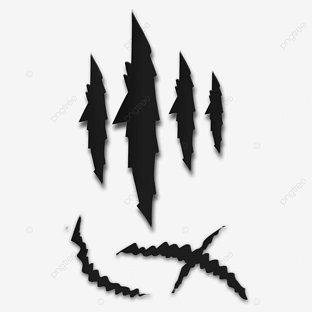 black animal claw marks