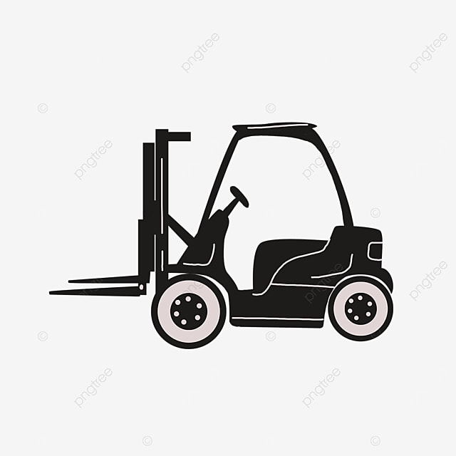 black cartoon forklift clipart icon sign