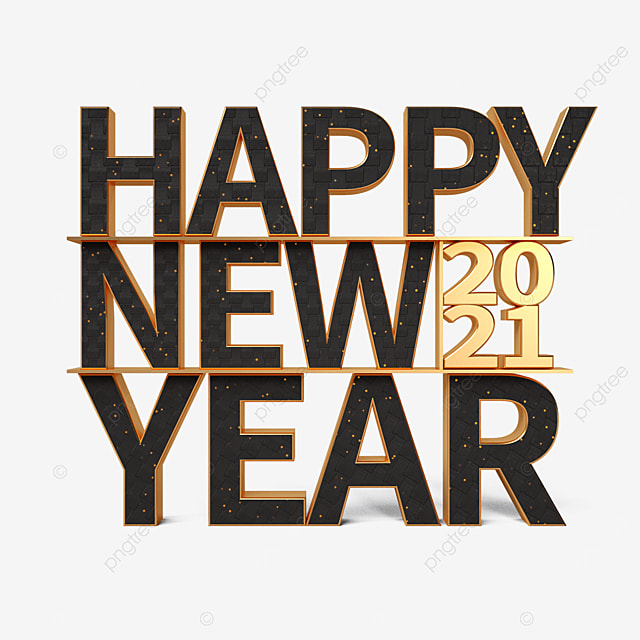 black gold happy new year font