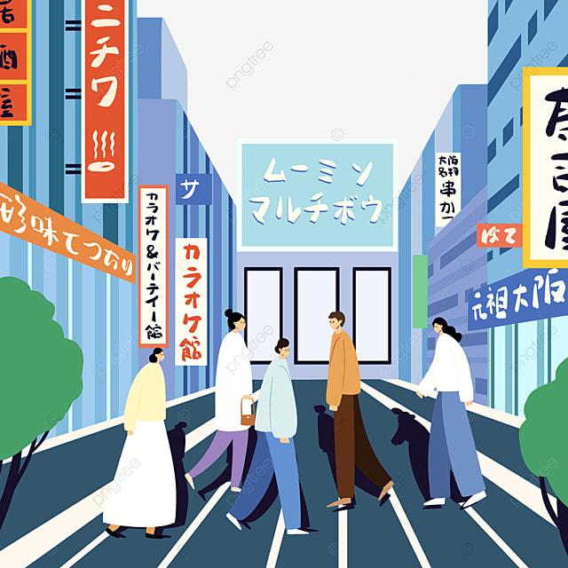blue cartoon modern japanese street buildings