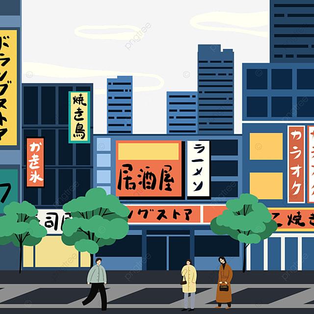 blue japanese modern street view store