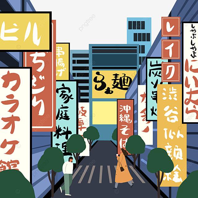 blue modern japanese street buildings