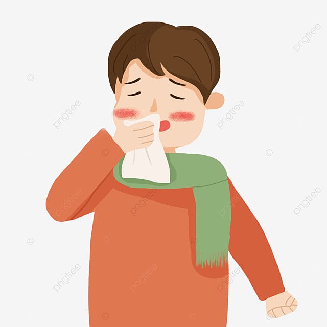 boy with a cold coughing flu clipart