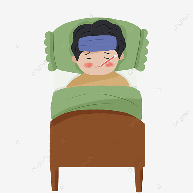 boy with cold and fever lying in hospital bed with flu clipart