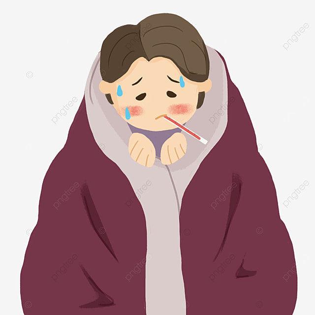 boy with fever and flu who is taking body temperature clipart