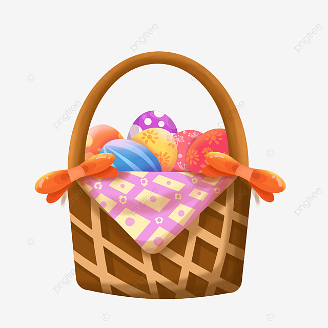brightly colored easter basket clipart