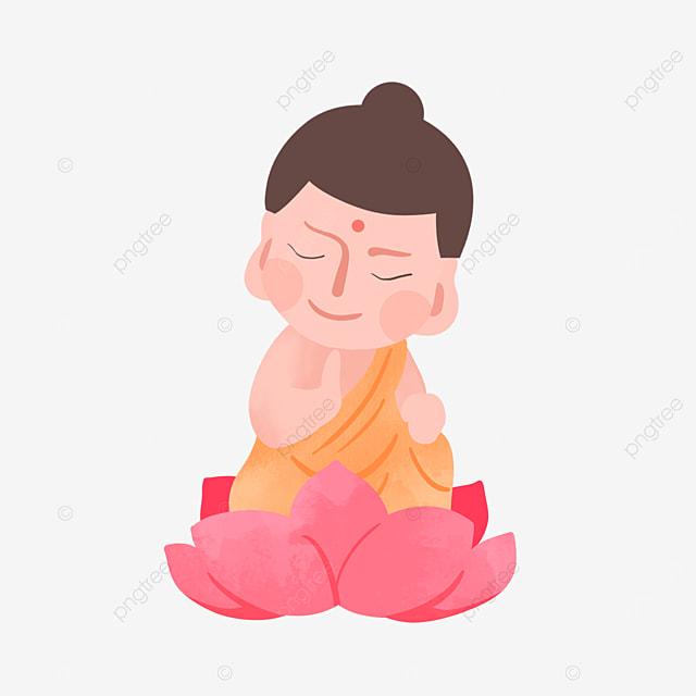 buddha birthday vesak day closed eyes character flat style illustration