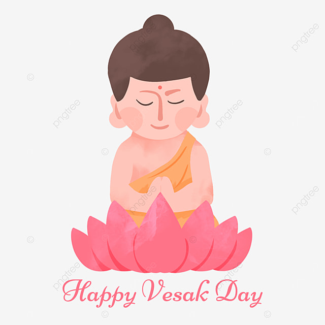 buddha birthday vesak day flat style simple character lotus illustration