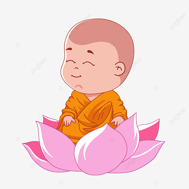 cartoon character sitting on lotus for buddhas birthday
