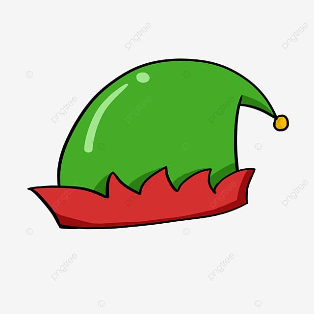 cartoon elf red green hat clipart
