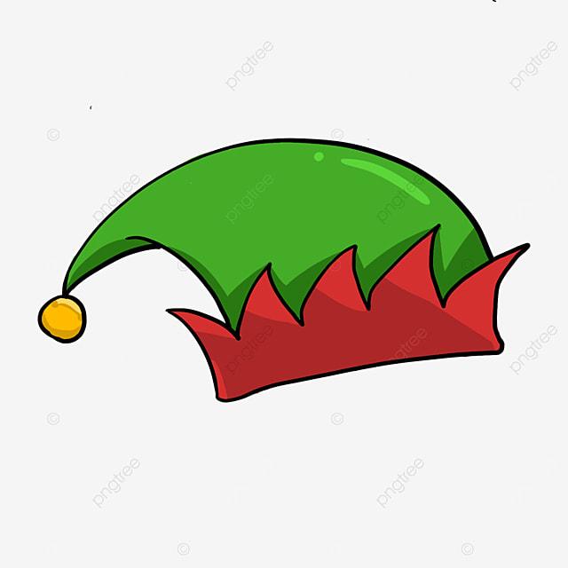 cartoon green red elf hat clipart