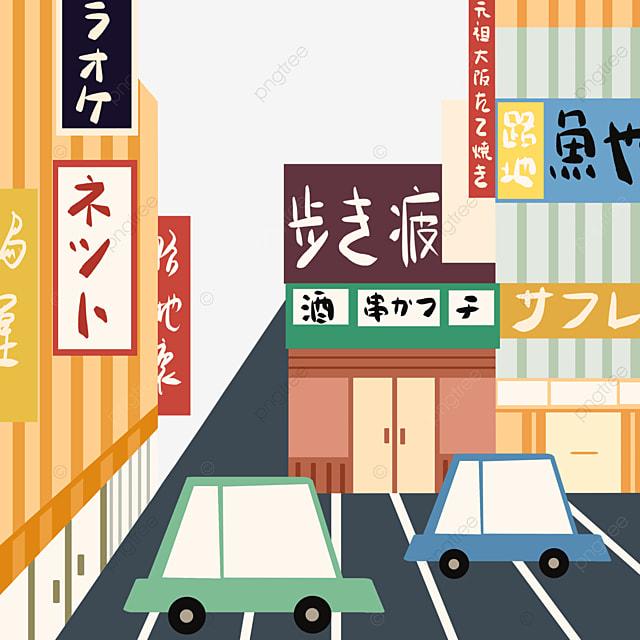 cartoon japanese modern colorful street view store