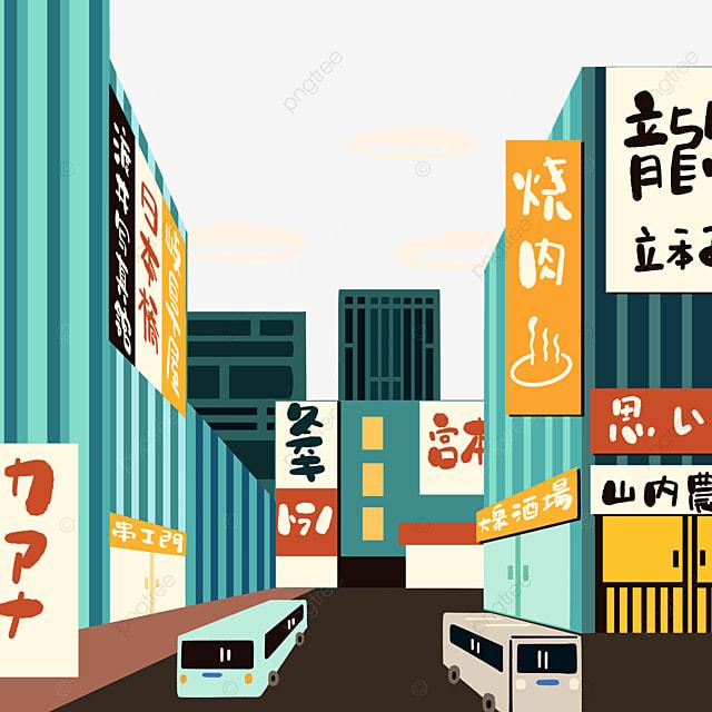 cartoon style japanese modern street scene