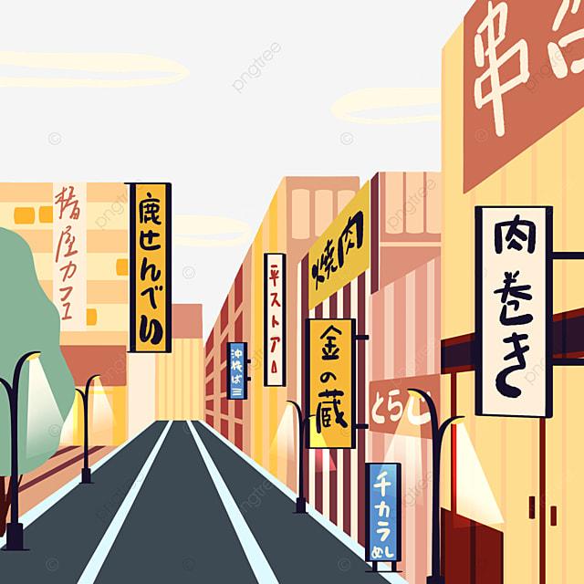 cartoon style japanese modern street view store