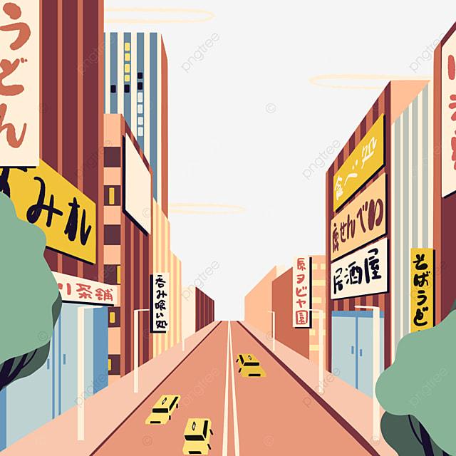 cartoon style modern japanese street buildings