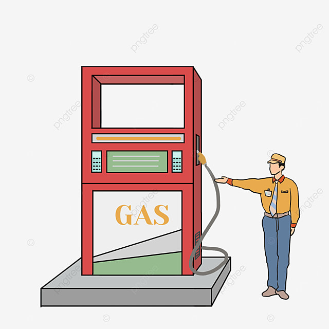 cartoon style red gas station