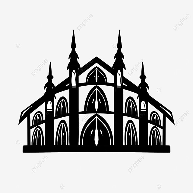 chinese style black and white building clipart