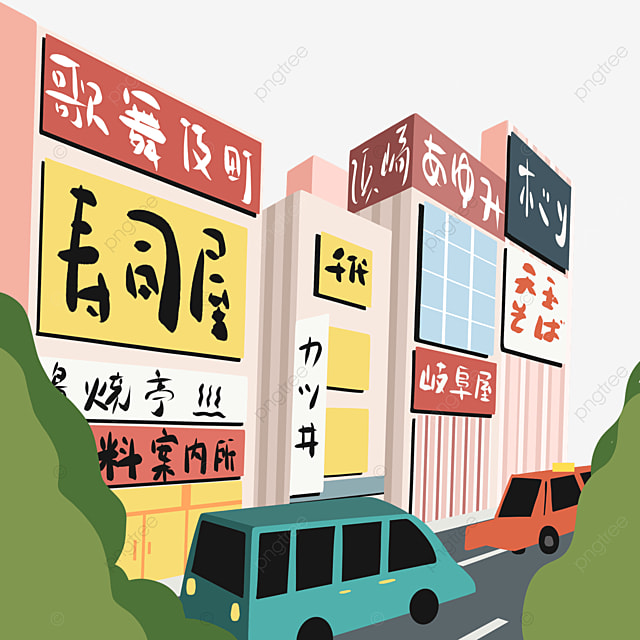 colorful cartoon japanese modern street scene shop