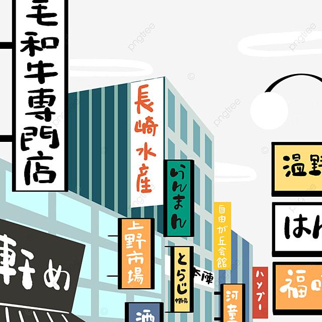 colorful cartoon modern japanese street buildings