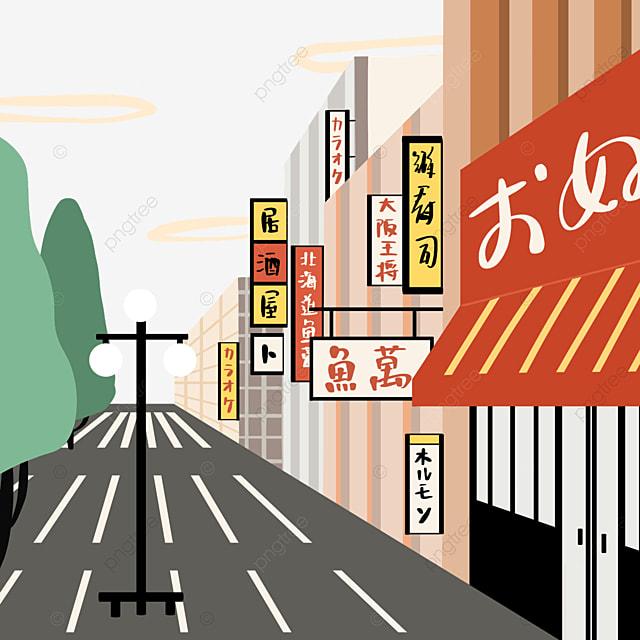 colorful japanese modern cartoon street view store