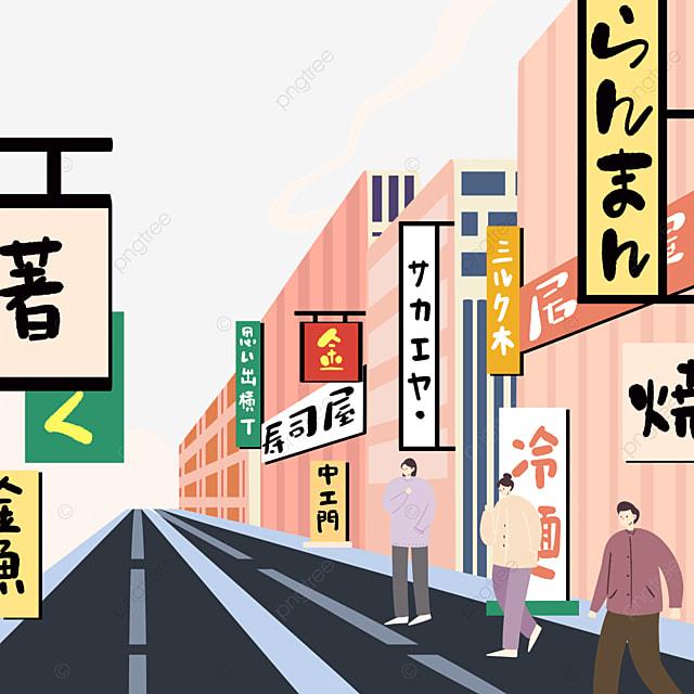 colorful japanese modern street scene