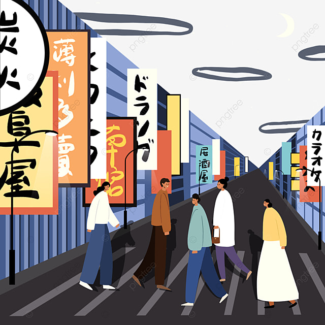 colorful japanese modern street view store