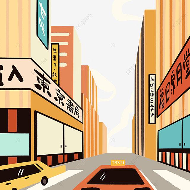 colorful modern japanese street buildings