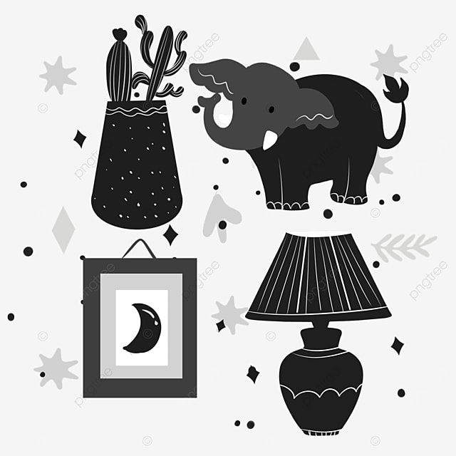 colorless lineart elephant design