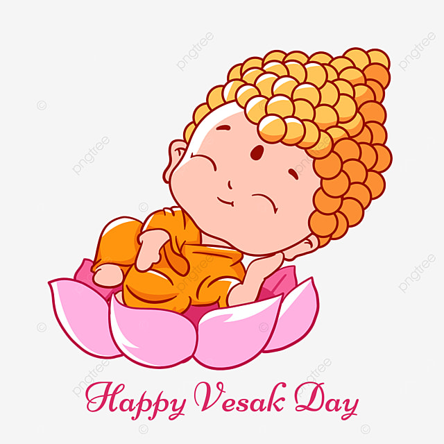cute cartoon buddha birthday vesak character illustration