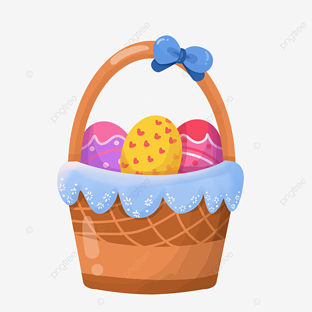 easter basket with bow clipart