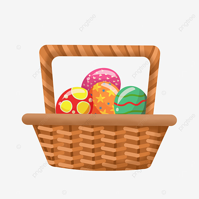easter basket with floral pattern clipart