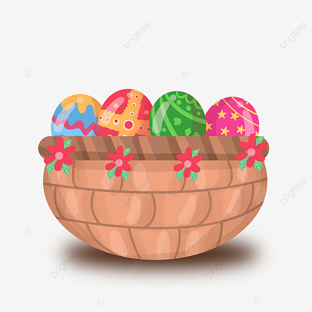 easter basket with flowers clipart