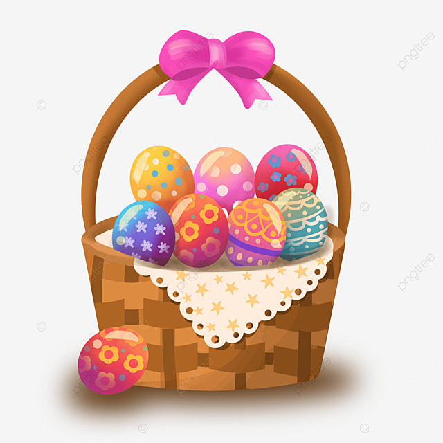easter with colorful eggs clipart