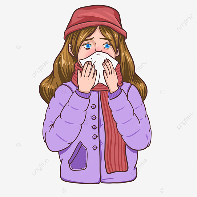 flu clip art girl blowing her nose in winter